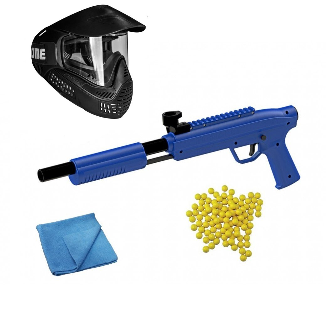 An image containing paintball game equipment